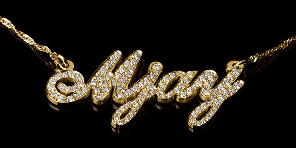 14k gold diamond name necklace. Black Bedroom Furniture Sets. Home Design Ideas