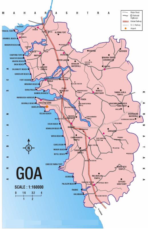 Карта индии где находиться гоа