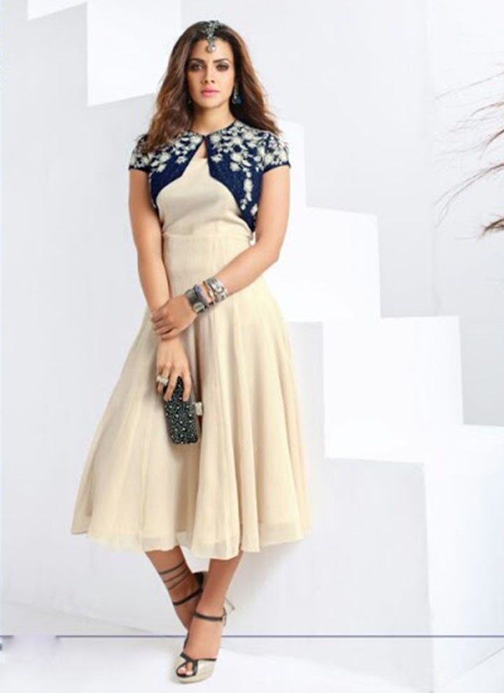 A party wear kurti with a fascinating coat