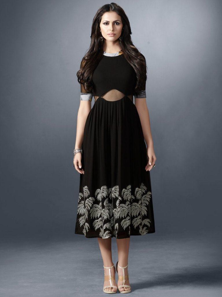 black kurti with a white shiny thread work