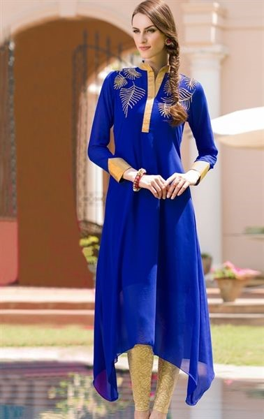 blue kurti with a gold legging