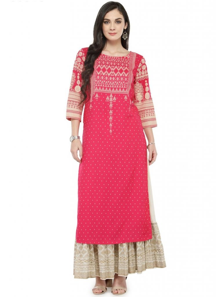 pink kurti with ornate designs