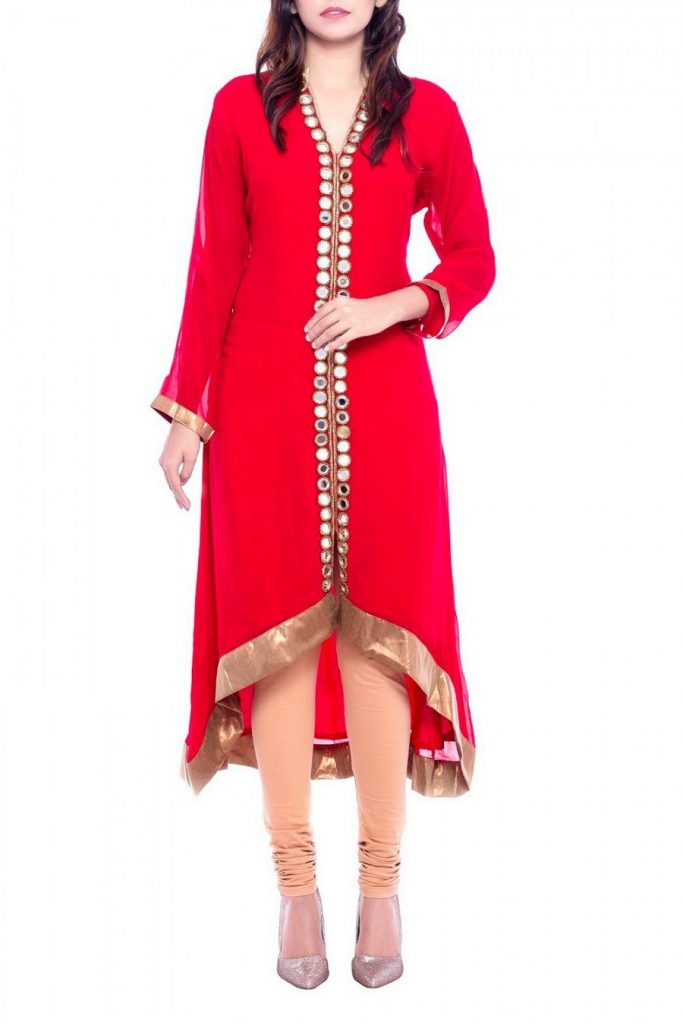 red kurti with a peach coloured legging
