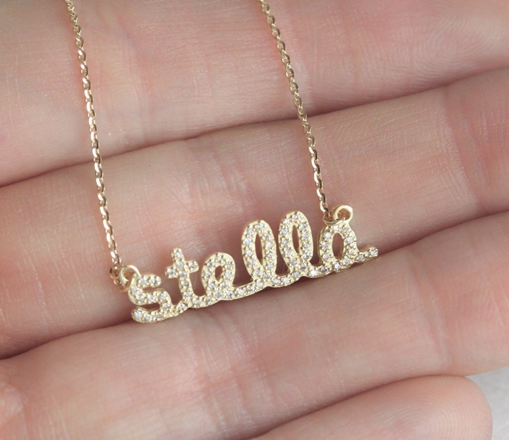 Gold Diamond Name Necklace